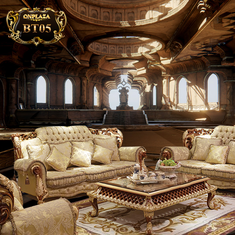Bộ ghế sofa nệm bọc vải hoa phong cách Châu Âu sang trọng PN45