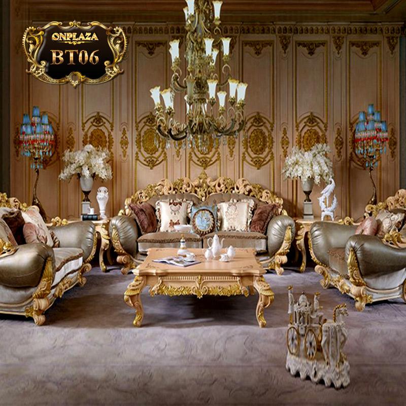 Bộ ghế sofa bọc nệm bọc da hoàng gia Ý sang trọng PN46