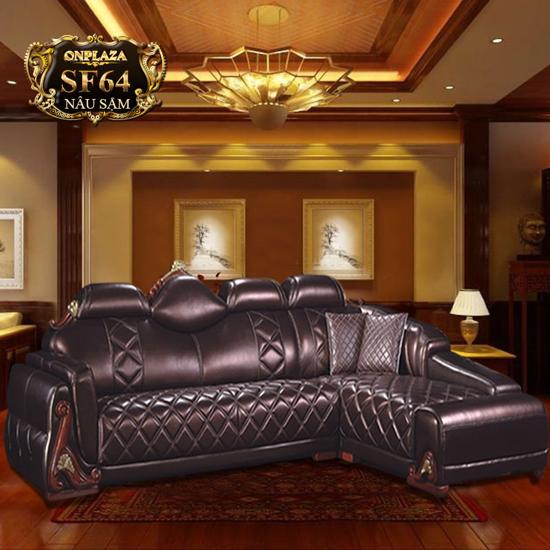 Bộ ghế sofa da 3 món cao cấp cho phòng khách hiện đại SF64
