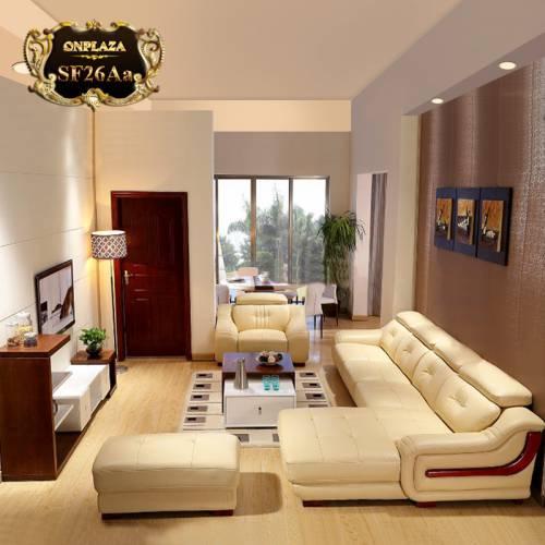 Bộ ghế sofa văng chữ L góc trái sang trọng SF26 màu kem
