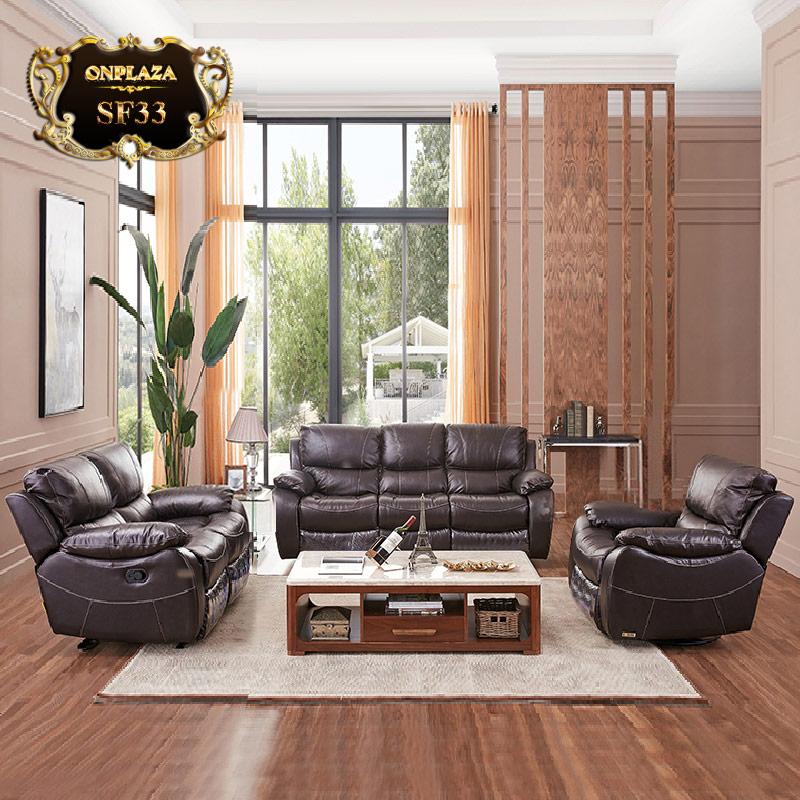 Bộ ghế sofa da cao cấp phong cách châu Âu hiện đại SF33