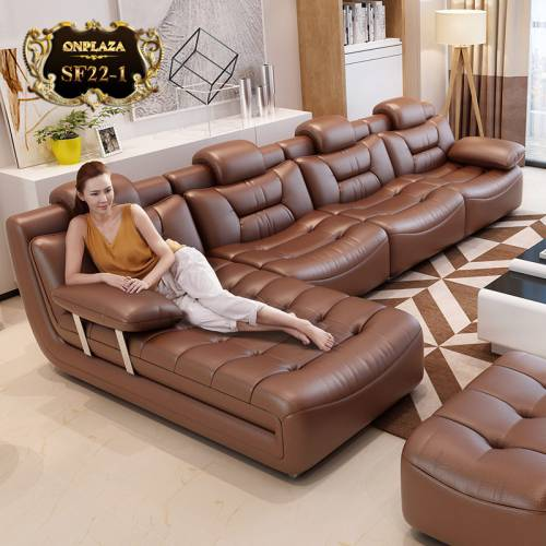Bộ ghế sofa bọc da cao cấp sắc nâu sang trọng SF22