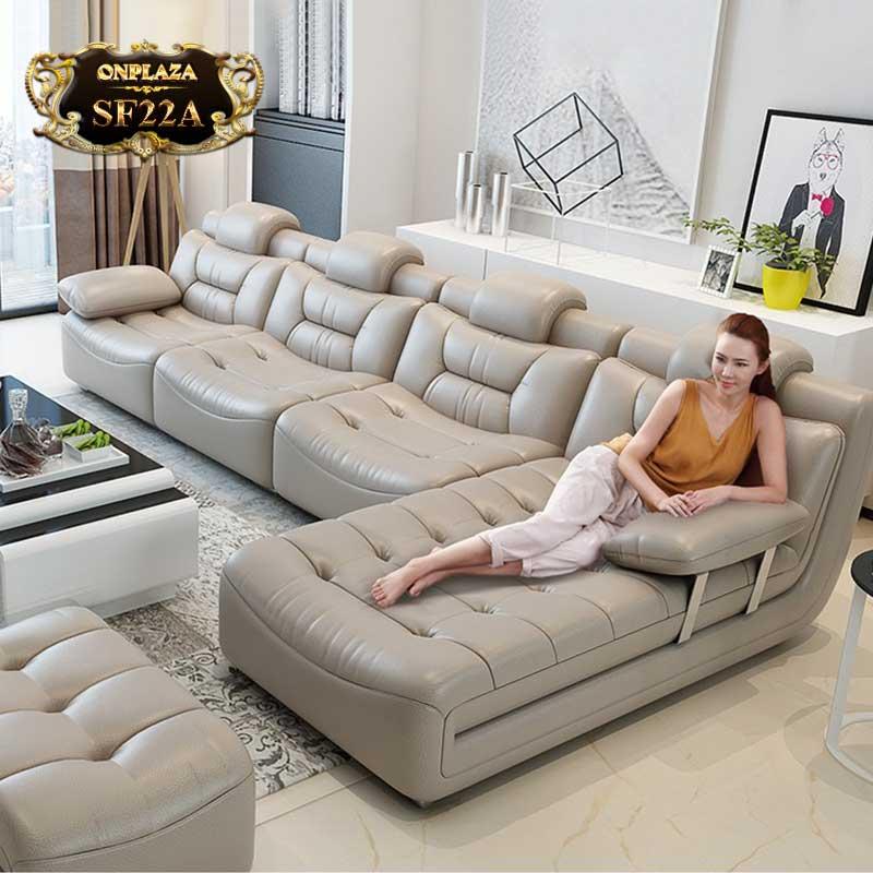 Bộ ghế sofa bọc da cao cấp sang trọng SF22