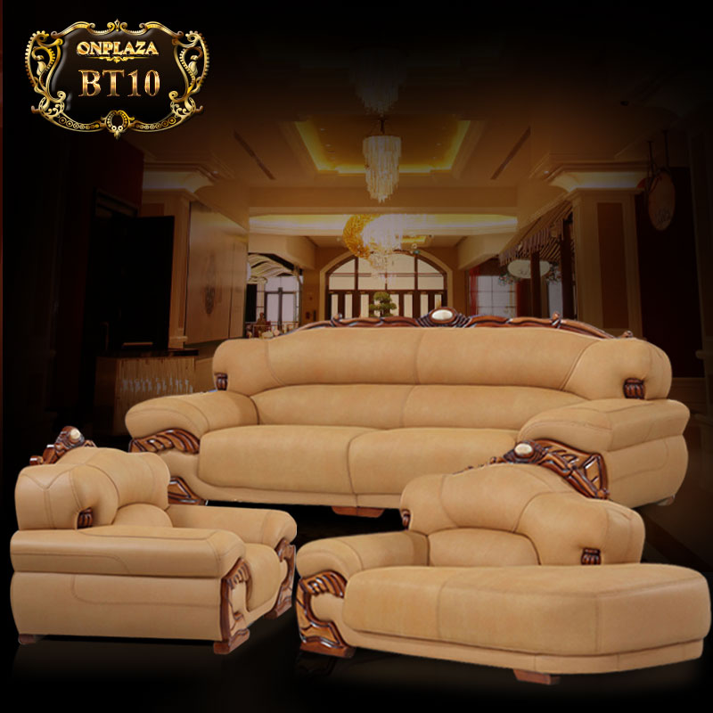 Bộ ghế sofa da chạm khắc gỗ họa tiết cao cấp BT10