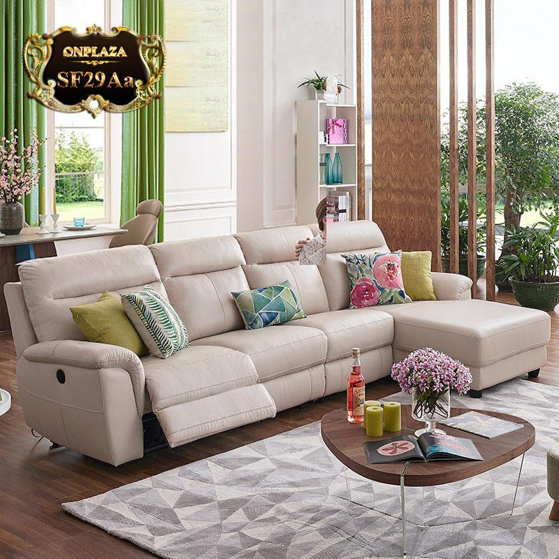 bộ ghế sofa da hiện đại 3 băng nhập khẩu cao cấp SF29Aa (Màu kem)