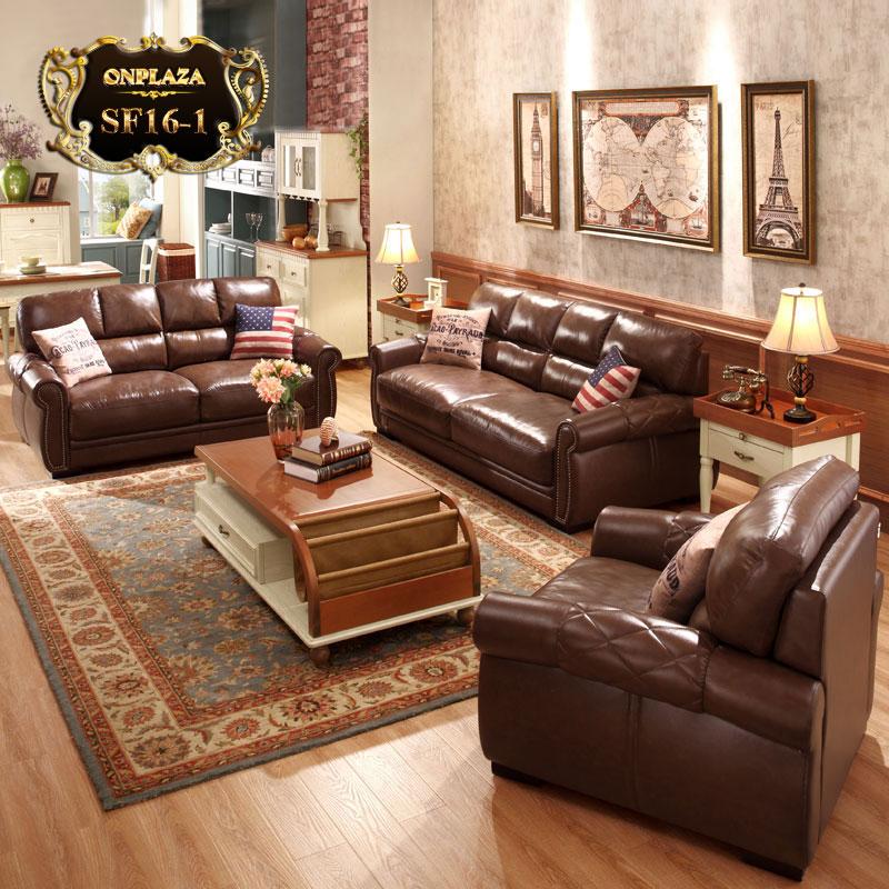 Bộ ghế sofa da nhập khẩu sắc nâu sang trọng SF16