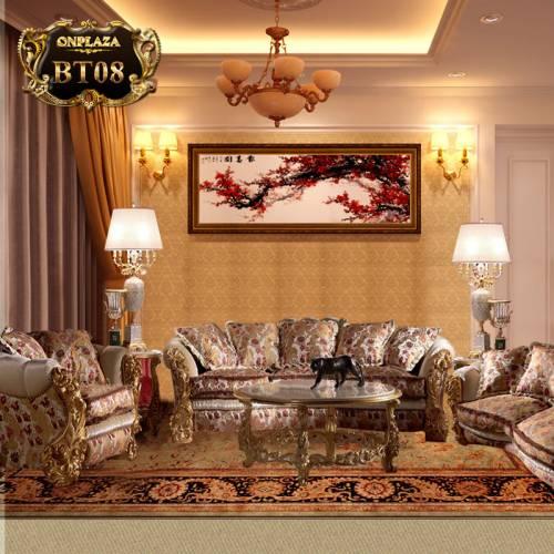 Bộ ghế sofa hoàng gia bọc nệm chạm khắc họa tiết BT08