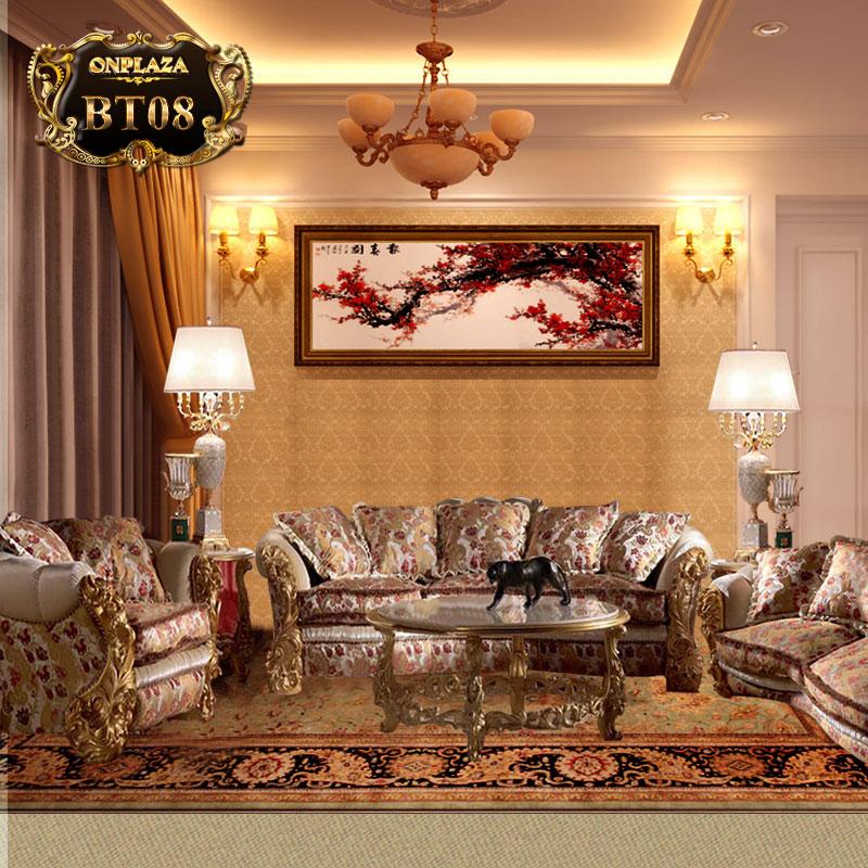 Bộ ghế sofa hoàng gia bọc nệm chạm khắc họa tiết PN107