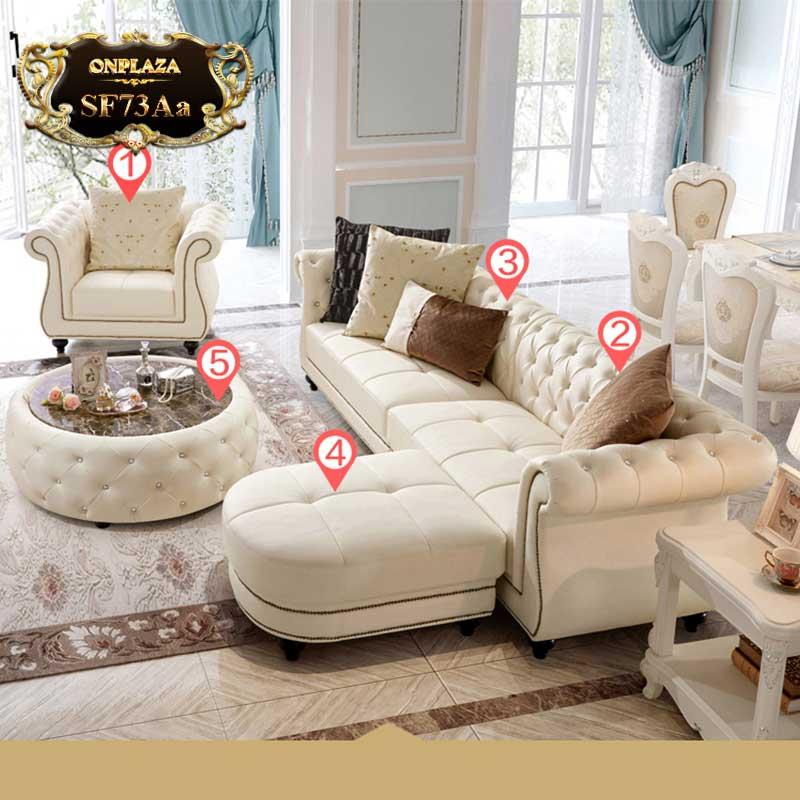 Bộ bàn ghế sofa da cao cấp phong cách Châu Âu mới nhất SF73