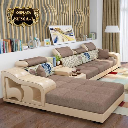 Bộ ghế sofa họa tiết cao cấp cho phòng khách đẹp (Màu kem) SF36