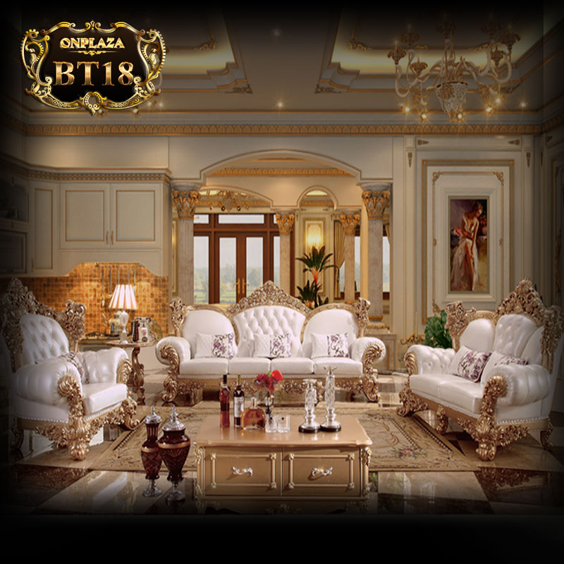 Bộ ghế sofa tân cổ điển cao cấp bọc nệm PN90
