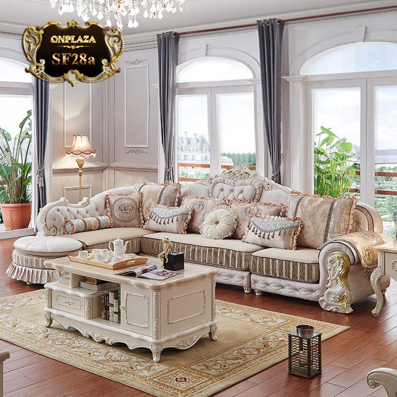 Bộ bàn ghế sofa tân cổ điển châu âu đẹp SF28 màu kem