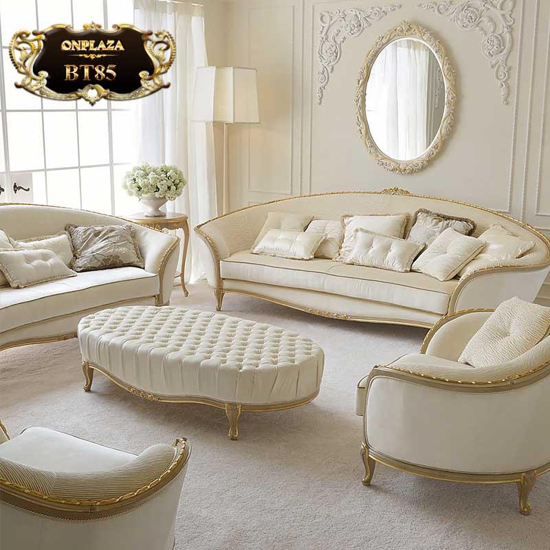 Bộ ghế sofa trắng trang nhã cho phòng khách tân cổ điển BT85