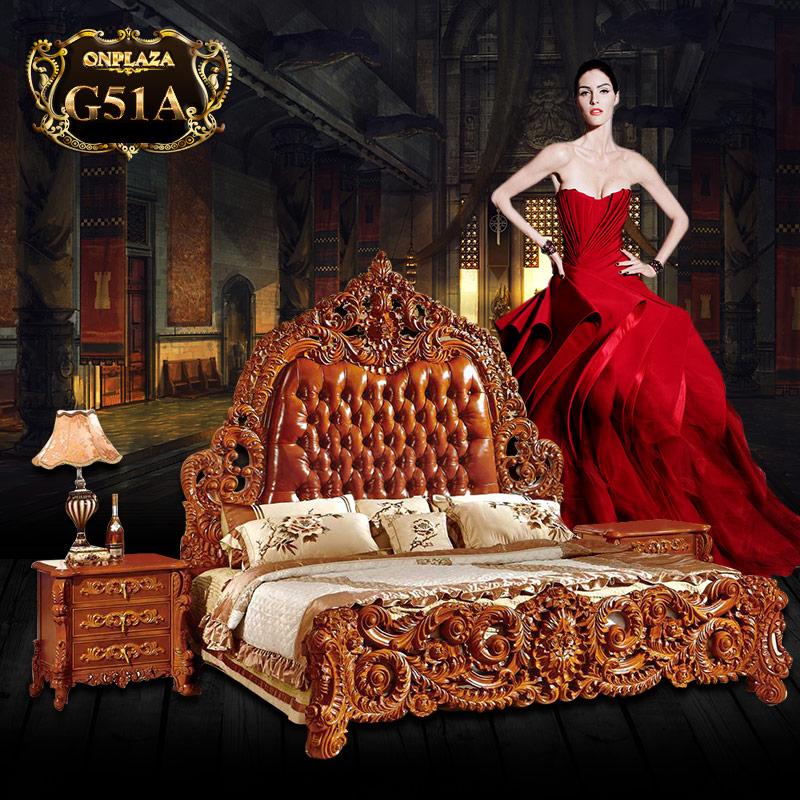 Bộ giường gỗ bọc nệm Hoàng gia cao cấp G51