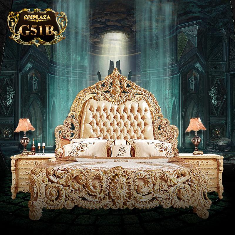 Bộ giường gỗ bọc nệm Hoàng gia cao cấp G51B