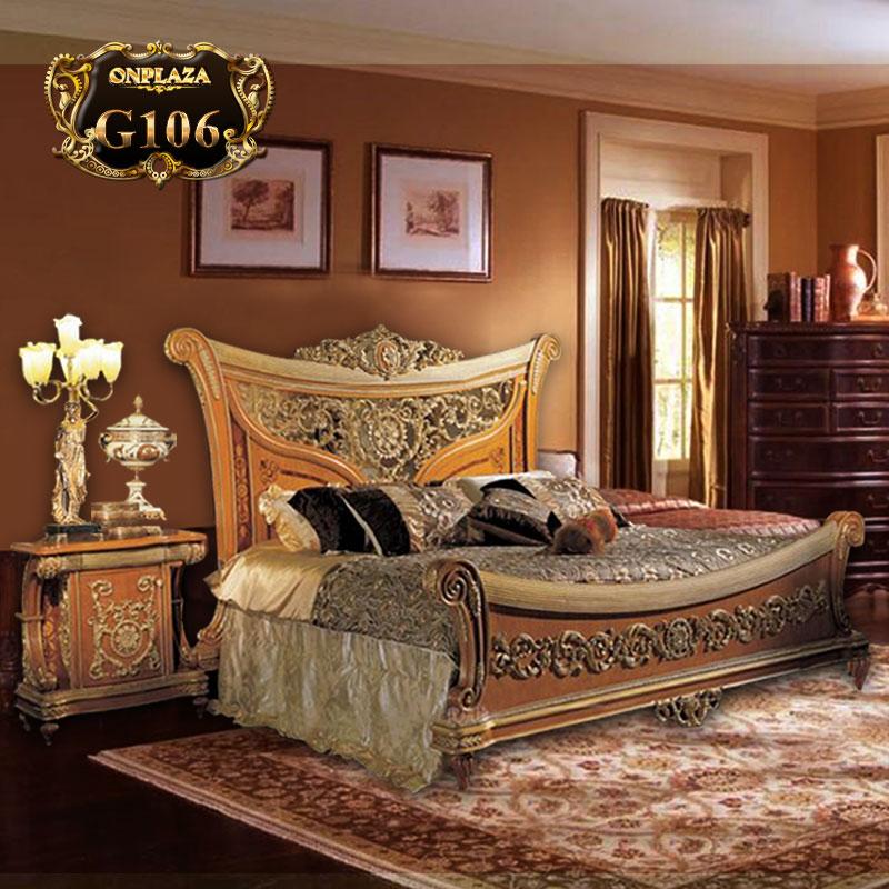 Bộ giường gỗ chạm khắc họa tiết phong cách Hoàng gia G106