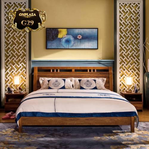 Bộ giường ngủ gỗ tự nhiên hiện đại kiểu mỹ G29