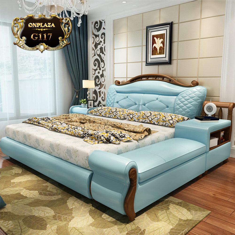 Bộ giường ngủ bọc da đa năng phong cách tân cổ điển G117