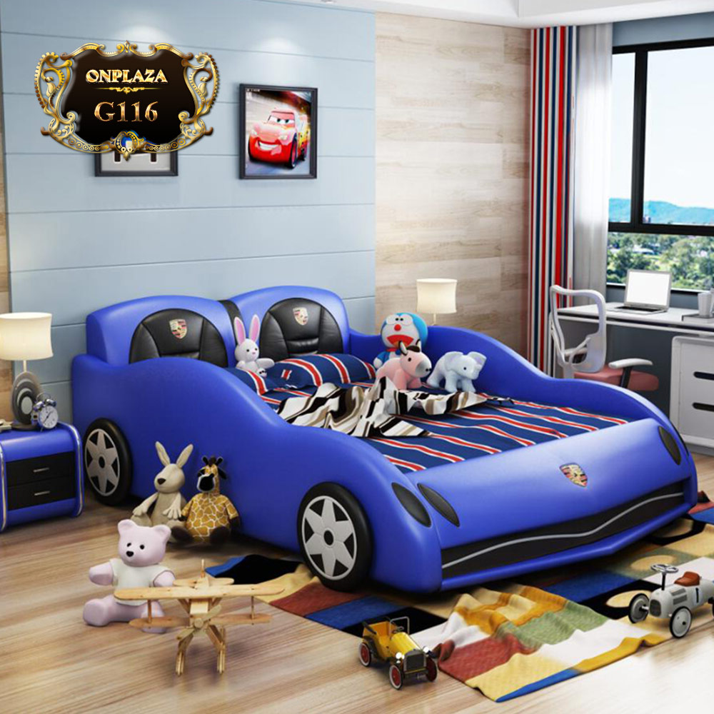 Bộ giường ngủ bọc da cho trẻ dáng xe đua G116