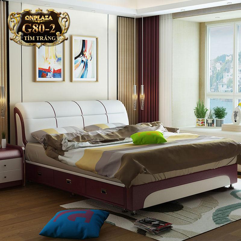 Bộ giường ngủ đa năng nhập khẩu ( bao gồm 2 táp) G80-2 (Tím trắng)