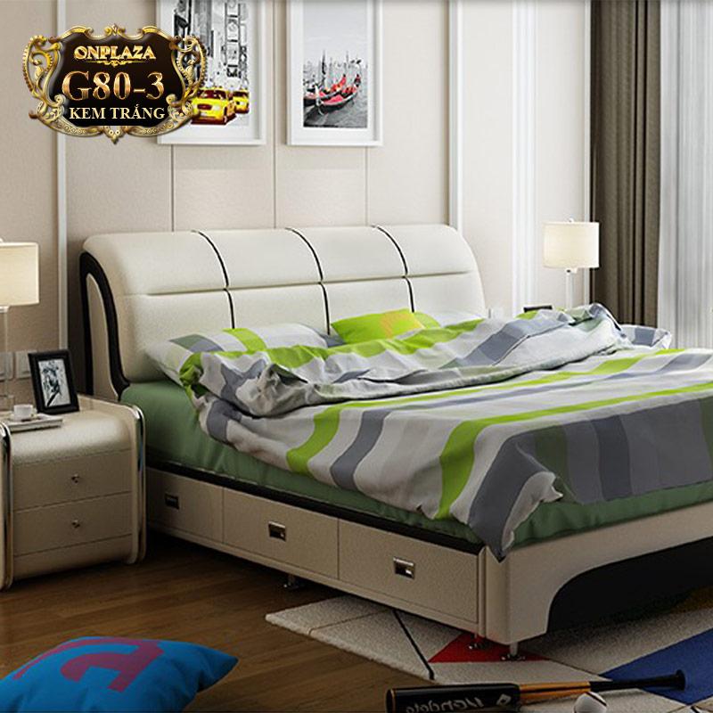 Bộ giường ngủ bọc nệm da đa năng ( bao gồm 2 táp) G80-3 (Kem trắng)