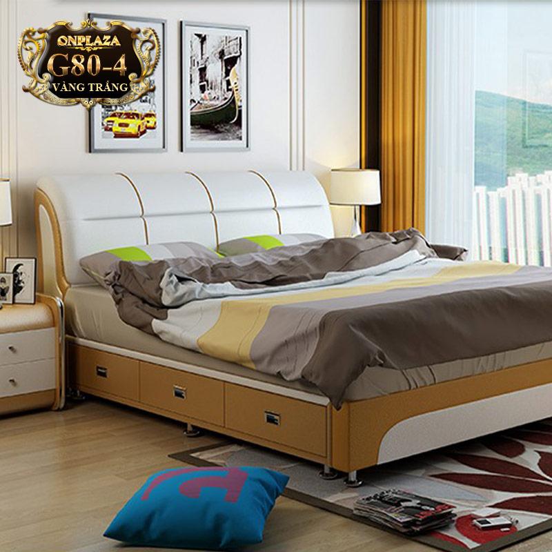Mẫu giường ngủ có ngăn chứa đồ màu kem bắt mắt G80