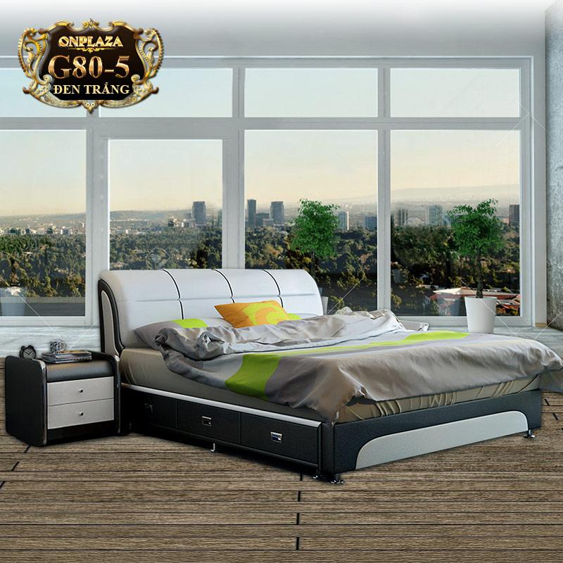 Bộ giường ngủ đa năng nhập khẩu ( bao gồm 2 táp) G80-5 (Đen trắng)
