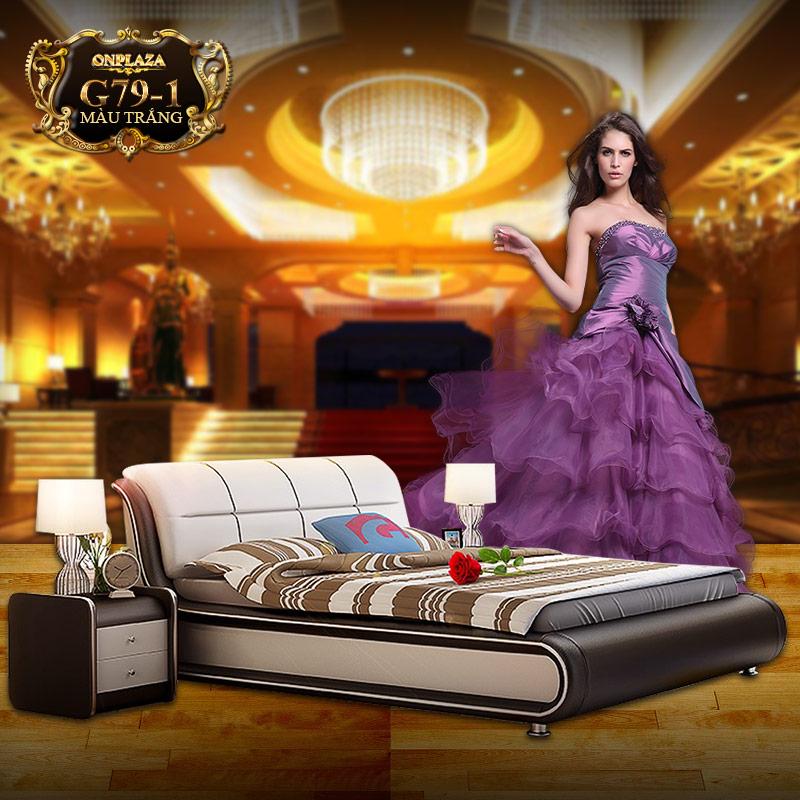 Bộ giường ngủ bọc nệm da đẹp sang trọng hiện đại G79-1 (Màu trắng)