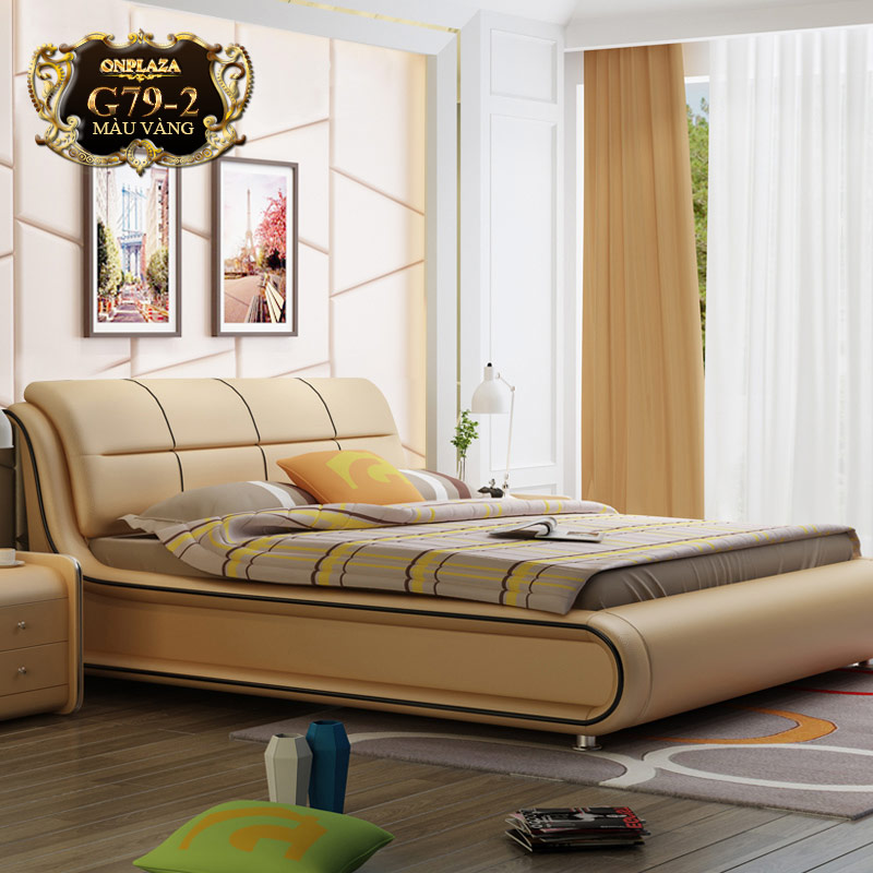 Bộ giường ngủ bọc nệm da nhập khẩu G79 (Màu vàng)