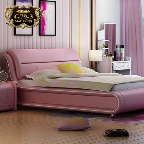 Bộ combo giường ngủ + 2 tab đầu giường bọc da G79 (Màu hồng)