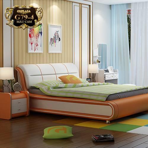 Bộ giường ngủ cao cấp (bao gồm 2 táp) G79-4 (Màu cam)