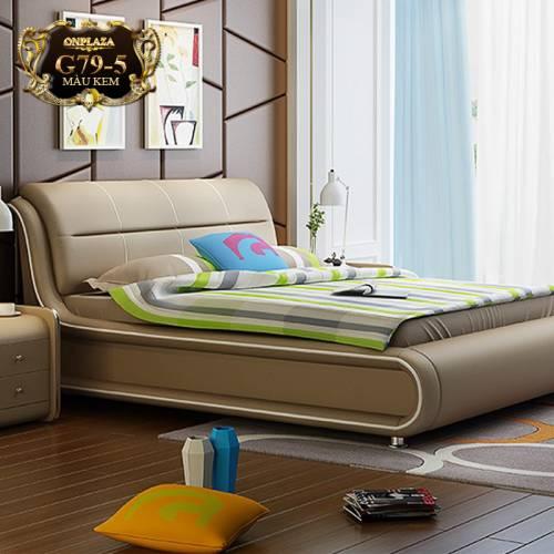 Bộ giường ngủ bọc nệm da (bao gồm 2 táp) G79-5 ( Màu kem)