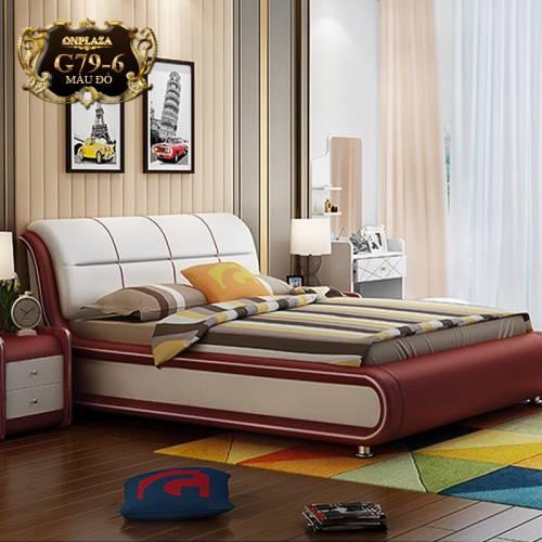 Bộ giường ngủ bọc da + 2 tủ nhỏ kê đầu giường G79-6 (Màu đỏ)