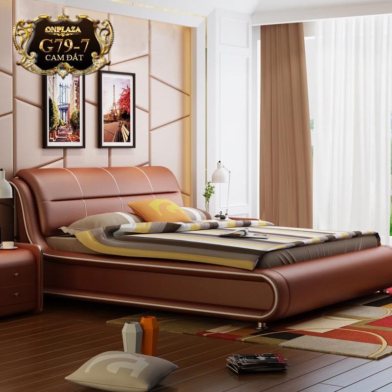 Bộ giường bọc da (bao gồm 2 táp) nhập khẩu G79-7 (Cam đất)