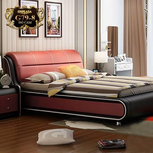 Bộ giường ngủ bọc nệm da (bao gồm 2 táp) G79-8 (Đỏ cam)