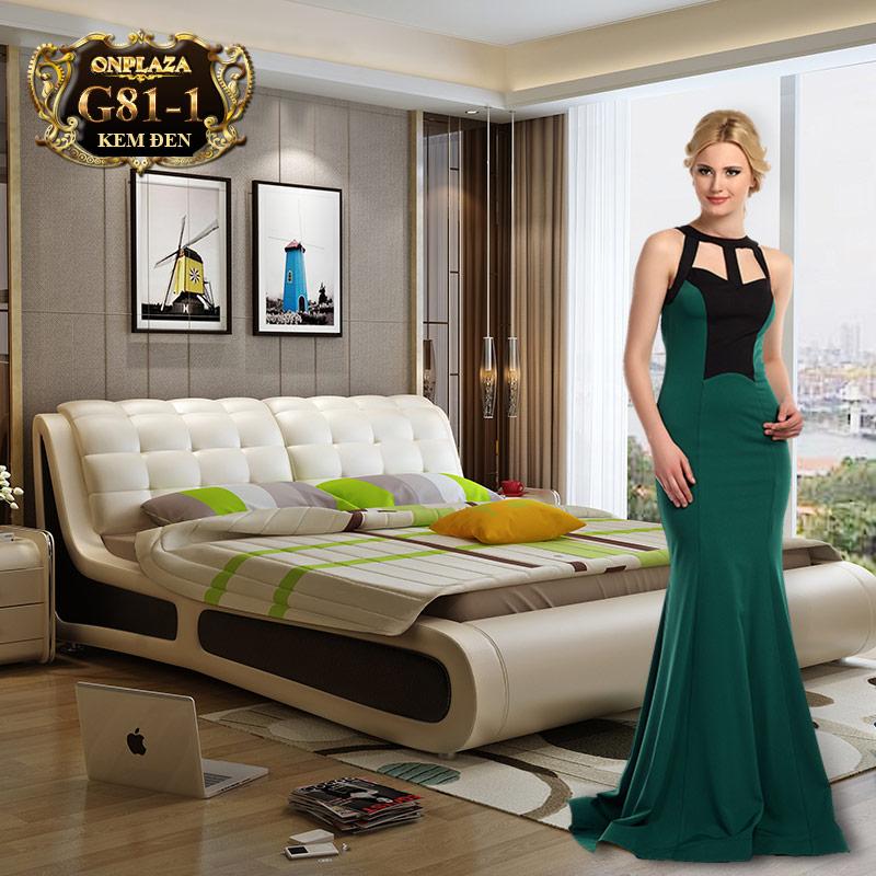 Bộ giường ngủ bọc nệm da hiện đại( bao gồm 2 táp) G81-1