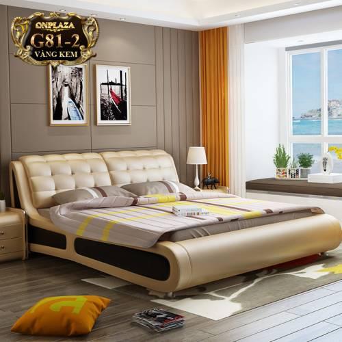 Bộ giường ngủ hiện đại bọc nệm da (bao gồm 2 táp) G81-2
