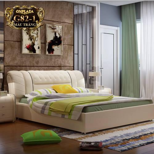 Bộ giường ngủ bọc nệm da (bao gồm 2 táp) G82-1 (Màu trắng)