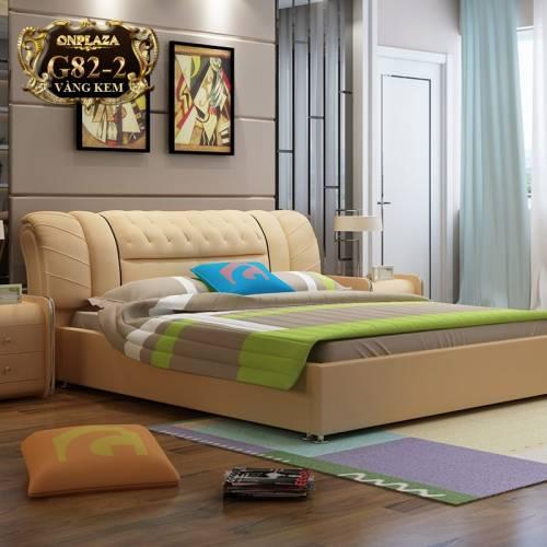 Bộ giường ngủ bọc nệm da (bao gồm 2 táp) G82-2 (Vàng kem)