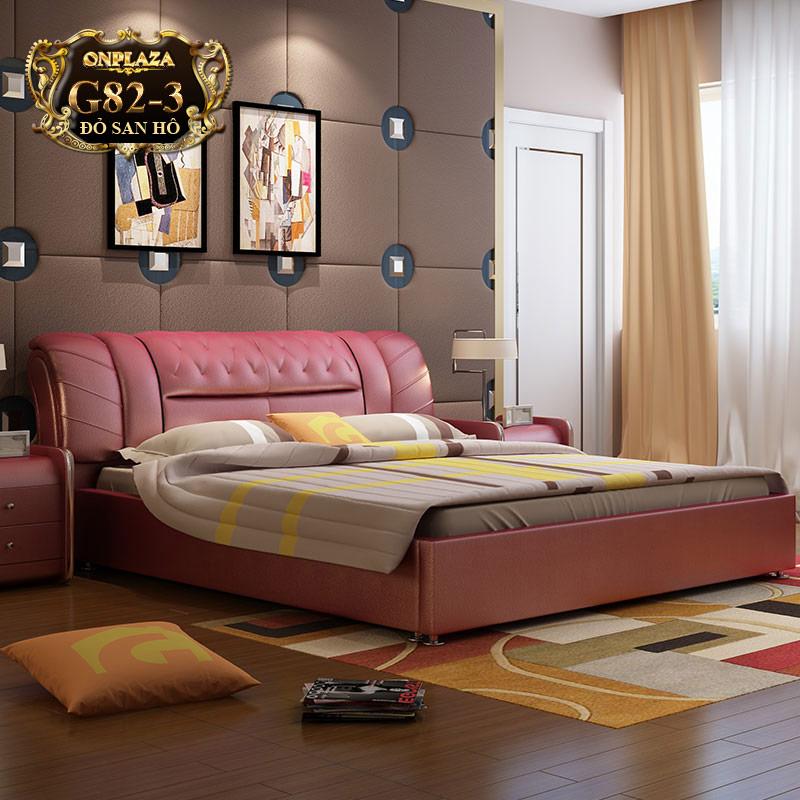Bộ giường ngủ bọc nệm da hiện đại (bao gồm 2 táp) G82-3 (Đỏ san hô)