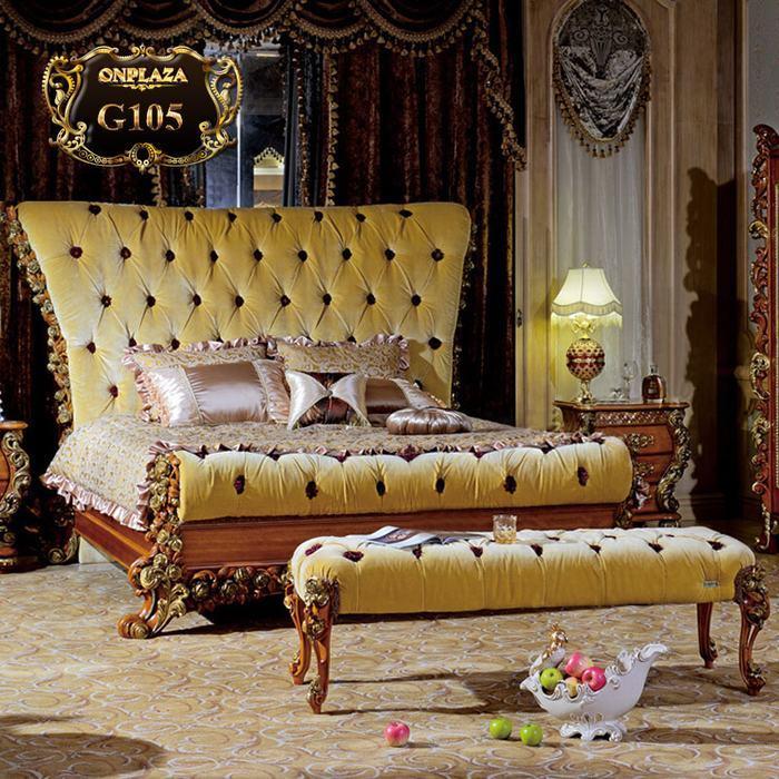 Bộ giường ngủ bọc nệm phong cách Châu Âu hiện đại G105