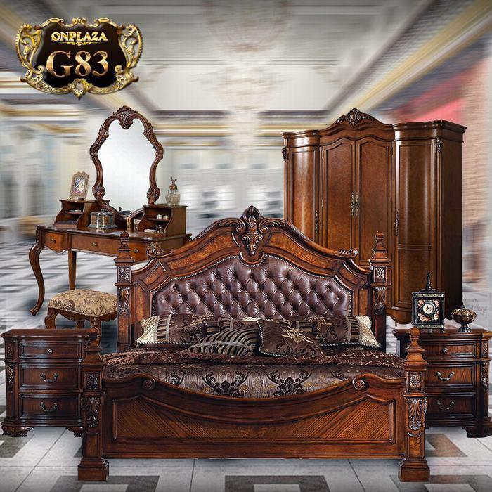 Bộ phòng ngủ gỗ nhập (bao gồm giường ngủ+tab giường) G83