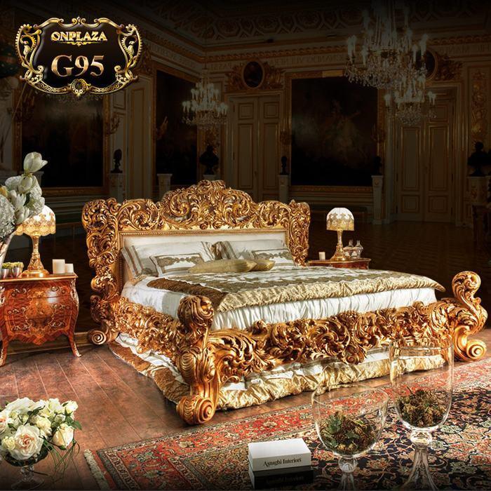 Bộ giường ngủ cao cấp chạm khắc hoa văn (giường+tab giường) G95