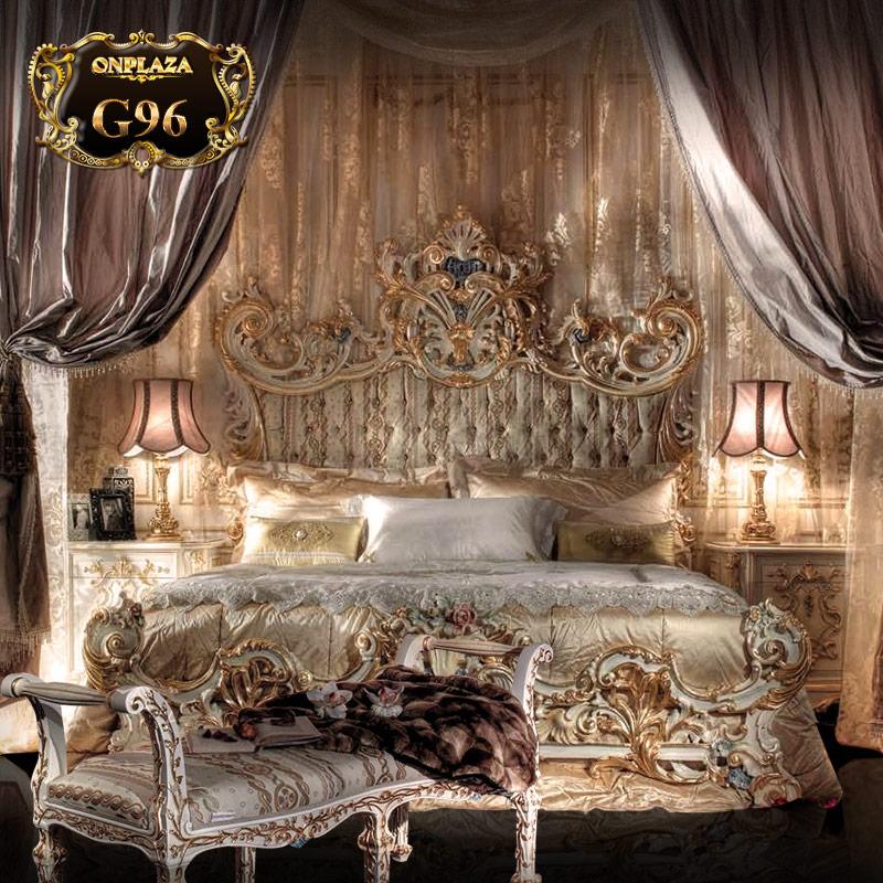 Bộ giường ngủ hoàng gia cao cấp chạm khắc hoa văn (giường+tab giường+ghế cuối giường) G96