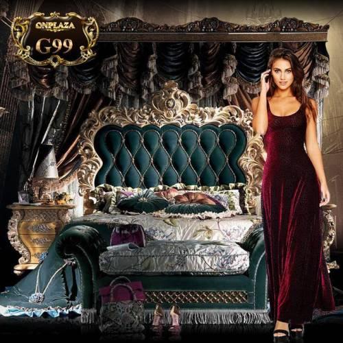 Bộ giường ngủ hoàng gia cao cấp chạm khắc mạ vàng G99