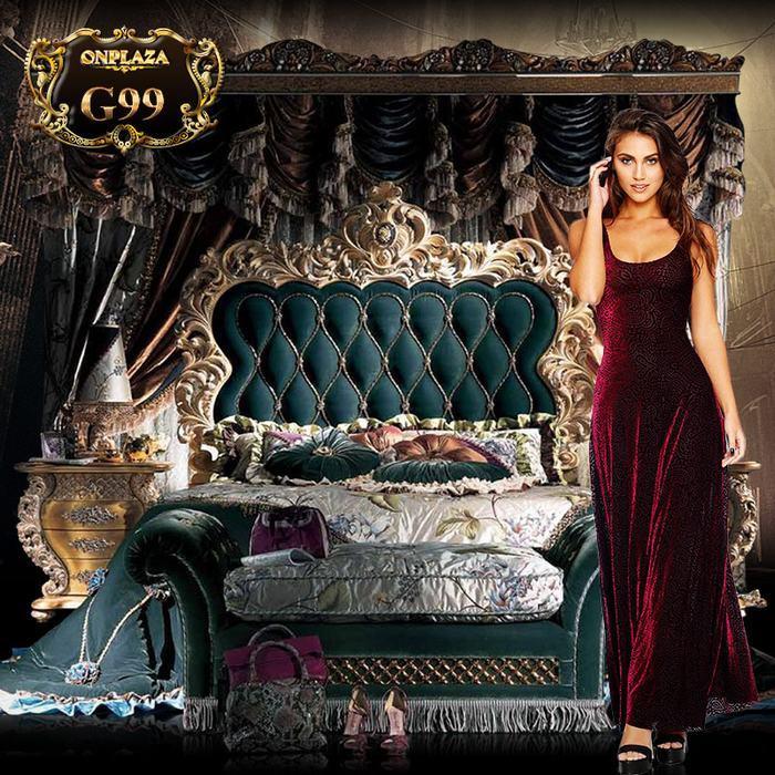 Bộ giường ngủ hoàng gia cao cấp chạm khắc mạ vàng tinh xảo G99