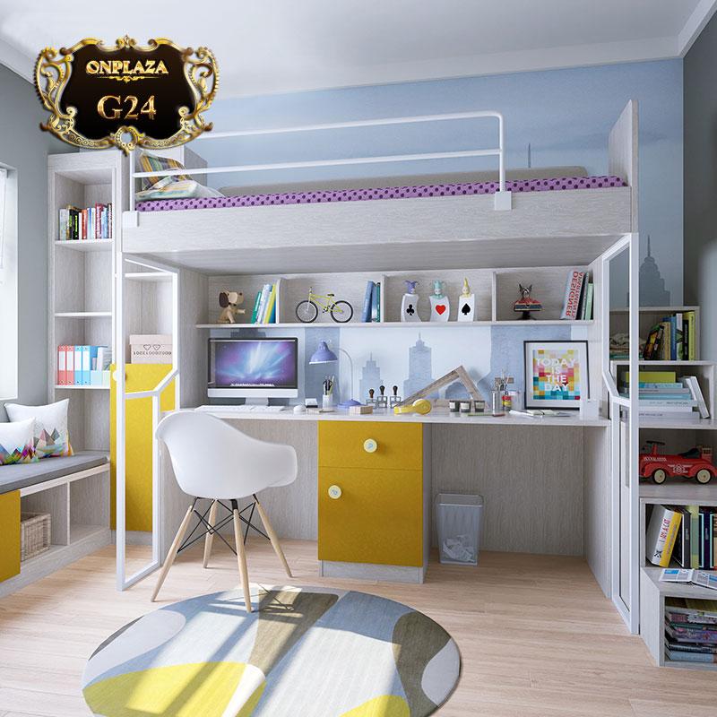 Bộ giường ngủ kết hợp bàn học thông minh cho bé G24