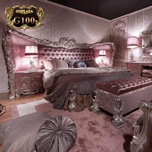 Bộ giường ngủ màu hồng tân cổ điển nữ hoàng cuốn hút G100