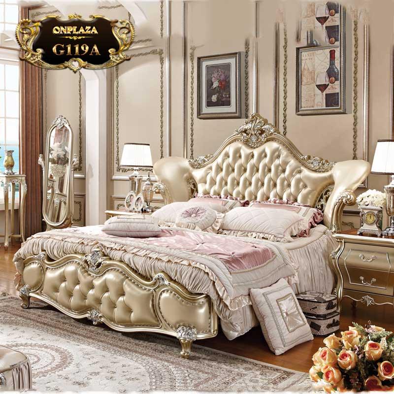 Bộ giường ngủ gỗ đầu giường bọc da phong cách tân cổ điển G119A