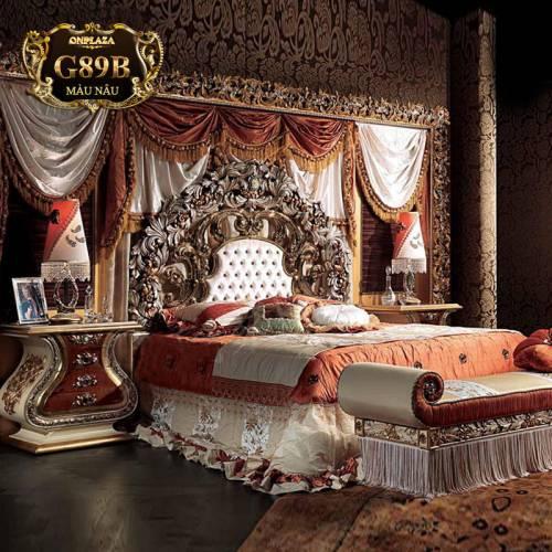 Bộ giường ngủ gỗ tự nhiên sang trọng quý phái G89B